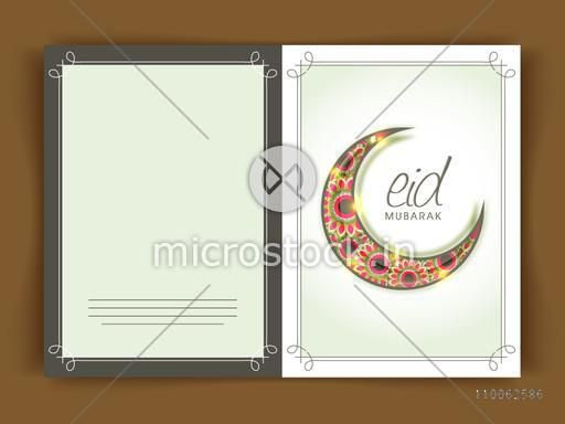 Beautiful floral design decorated glowing crescent moon on shiny green background for Muslim community festival, Eid celebration, can be used as greeting or invitation card design.