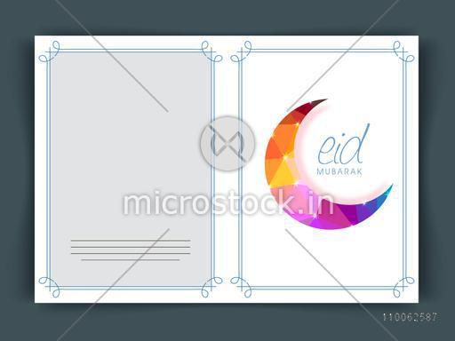 Shiny colorful crescent moon decorated greeting card design for Muslim community festival, Eid celebration.