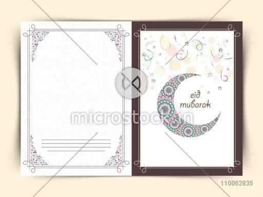 Beautiful floral design decorated crescent moon on stars decorated background for Muslim community festival, Eid celebration.