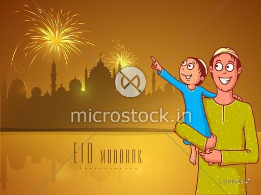 Cute little kid in his father's lap pointing towards fireworks on Mosque silhouette, night background for Islamic festival, Eid Mubarak celebration.