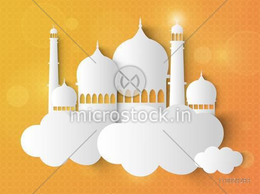 Creative glossy Mosque on clouds for Muslim Community Festival celebration.