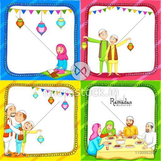 Colorful set of greeting card decorated with Islamic people enjoying and celebrating on occasion of holy month Ramadan Kareem.