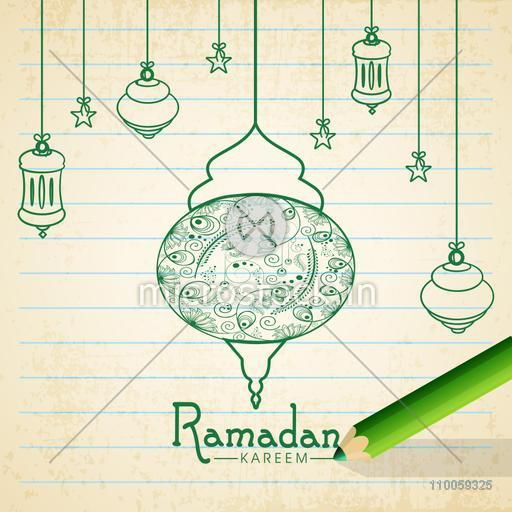 Floral design decorated green hanging lamps with stars on grungy notebook paper for holy month of Muslim community Ramadan Kareem celebration.