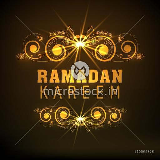 Golden text Ramadan Kareem with beautiful floral design on brown background for Muslim community festival celebration, can be used as poster, banner or flyer design.