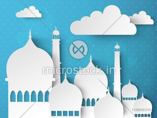 Creative islamic mosque made by paper cutout for holy month of muslim community, Ramadan Kareem celebration.