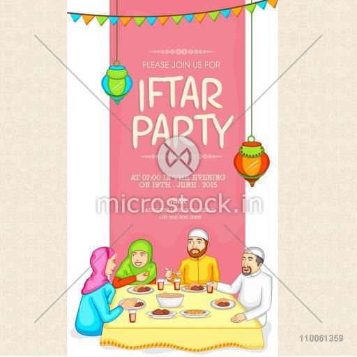 Holy month of Muslim community, Ramadan Kareem celebration invitation card with illustration of a Islamic family enjoying Iftar Party.