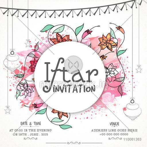 Floral design decorated invitation card for holy month of Muslim community, Ramadan Kareem Iftar Party celebration.