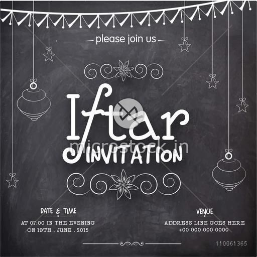 Creative invitation card in chalkboard style for holy month of Muslim community, Ramadan Kareem Iftar Party celebration.