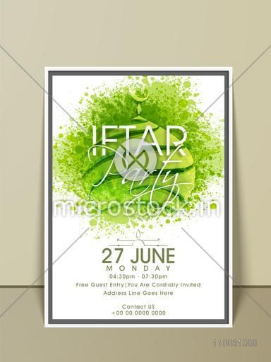 Stylish Ramadan Kareem Iftar party celebration invitation card with green splash on mosque, date, time and place details.