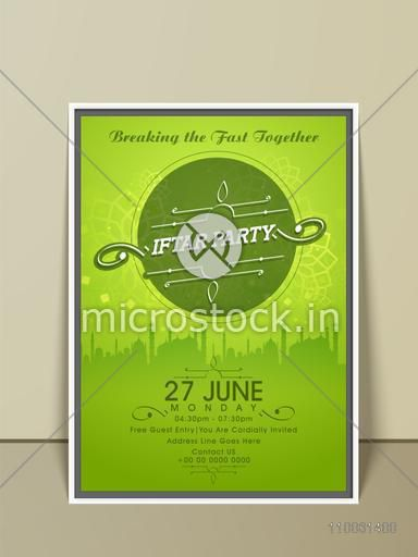 Glossy green invitation card for Ramadan Kareem, Iftar party celebration with illustration of mosque.