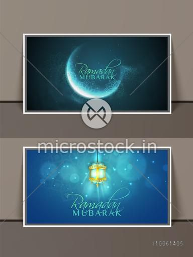 Beautiful shiny frames with crescent moon and hanging illuminated arabic lamp or lantern for holy month of muslim community, Ramadan Kareem celebration.