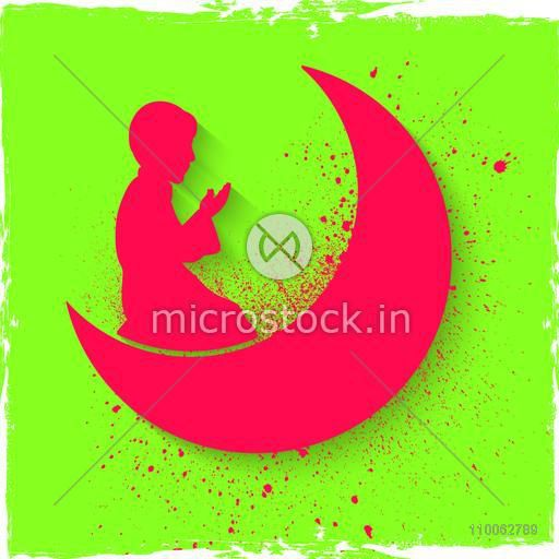 Pink Silhouette Of A Religious Muslim Boy Offering Namaz Islamic