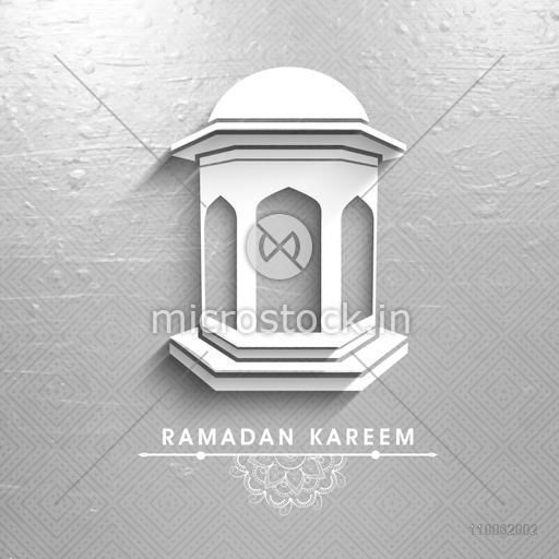 Creative White Traditional Lantern On Seamless Silver Background Beautiful Greeting Or Invitation Card For Holy Month Of Muslim Community Ramadan