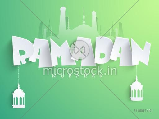 Traditional arabic lamps or lanterns hanging by paper text Ramadan Mubarak on islamic mosque silhouette, shiny green background.