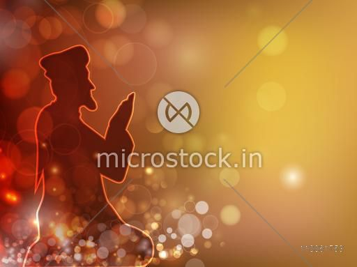 Islamic holy month of prayer, Ramadan Kareem celebration with illustration of islamic man reading Namaz, made by neon light on shiny colorful background.
