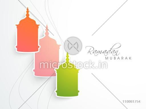 Colorful arabic lamps or lanterns made by paper cutout on white background for holy month of muslim community, Ramadan Kareem celebration, can be used as sticker, tag or label.