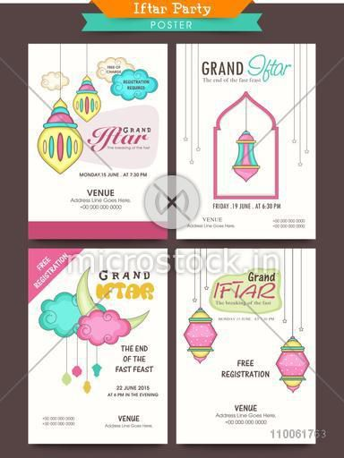 Set of Ramadan Kareem Iftar party celebration posters with date, time and place details.