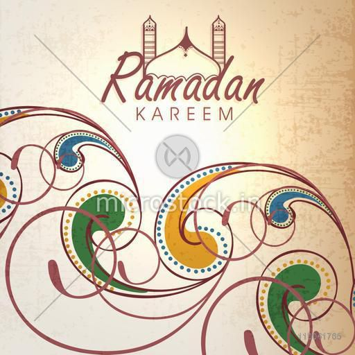 Beautiful floral design decorated greeting card for holy month of Muslim community Ramadan Kareem celebration.