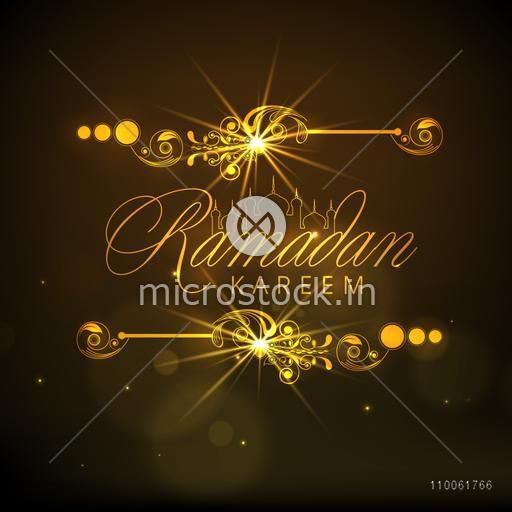Stylish golden text Ramadan Kareem with Mosque on shiny brown background, can be used as greeting or invitation card design.