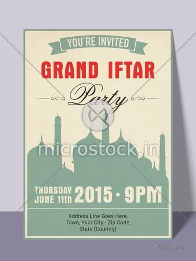 Islamic holy month of prayer, Ramadan Kareem Iftar party celebration invitation card with date, time and place details.