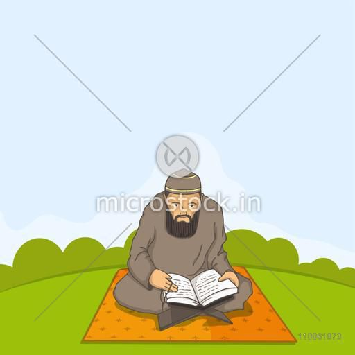 A Muslim man in traditional dress reading Islamic religious book Quran Shareef for holy month Ramadan Kareem celebration.