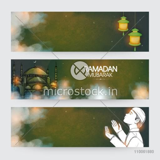 Website header or banner set decorated with Arabic lanterns, Islamic Mosque and Muslim boy for holy month Ramadan Kareem celebration.
