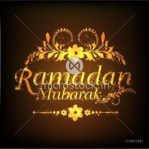 Shiny floral design decorated golden text Ramadan Mubarak on brown background for Islamic holy month of prayer celebration.