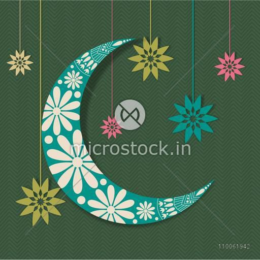 Beautiful floral design decorated crescent moon with colorful hanging flowers for holy month of Muslim community, Ramadan Kareem celebration.