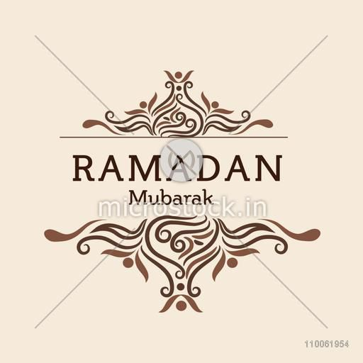 Elegant greeting or invitation card decorated with floral design for Muslim community festival,  Ramadan Kareem celebration.