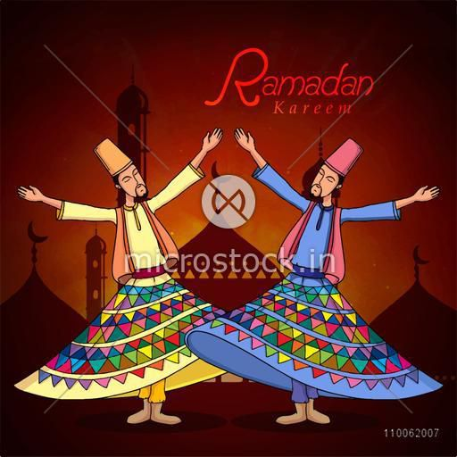Holy month of muslim community, Ramadan Kareem celebration with illustration of dervish on islamic mosque night background.