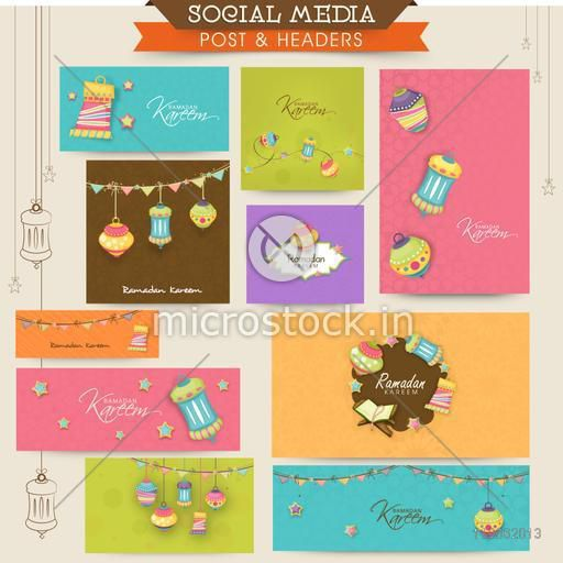 Social media ads, header or banner with Islamic elements for Muslim community festival, Ramadan Kareem celebration.