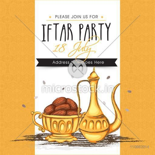 Creative invitation card with dates for Muslim community festival, Ramadan Kareem Iftar Party celebration.