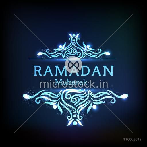 Elegant greeting or invitation card with floral design decorated stylish text Ramadan Mubarak on shiny blue background.