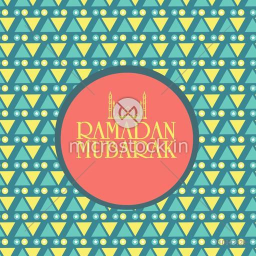Holy month of Muslim community, Ramadan Kareem celebration sticker, tag or label design on seamless background.