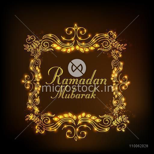 Holy month of Muslim community, Ramadan Kareem celebration with golden floral design decorated frame on brown background.