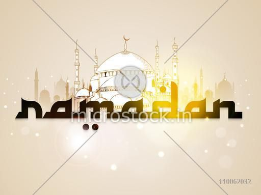 Beautiful mosque and stylish text Ramadan on shiny background for Islamic holy month of prayer, Ramadan Kareem celebration.