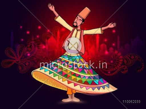 Young whirling dervish in traditional outfits on beautiful red floral design and mosque silhouette background for holy month of Muslim coomunity, Ramadan Kareem celebration.