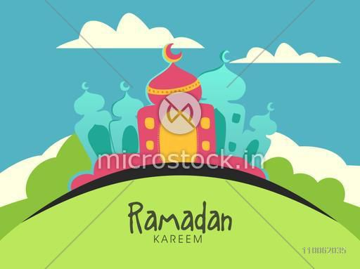 Creative colorful mosque on nature background for holy month of Muslim community, Ramadan Kareem celebration.