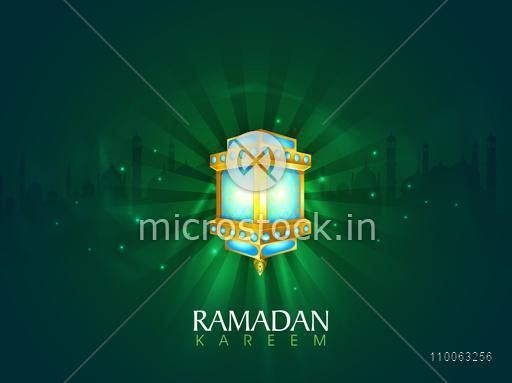 Beautiful illuminated lantern on mosque silhouetted green shiny rays background for Islamic holy month of prayers, Ramadan Kareem celebration.