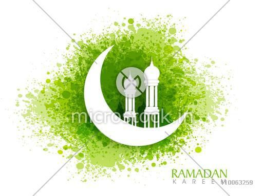 White creative mosque on glossy crescent moon on green color splash background for Islamic holy month of prayers, Ramadan Kareem celebration.