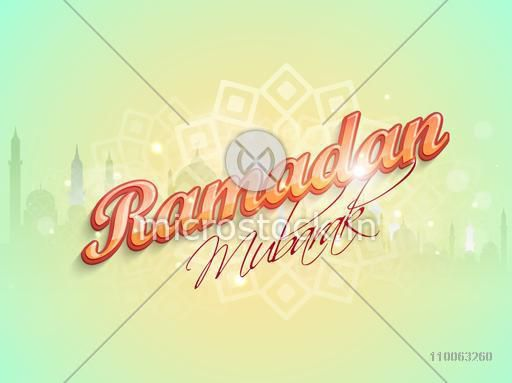 Stylish text Ramadan Mubarak on mosque silhouette and floral design decorated shiny background, can be used as poster, banner or flyer design.