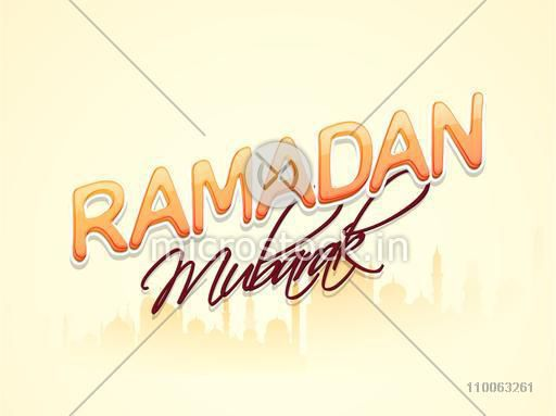 Stylish text Ramadan Mubarak on mosque silhouette decorated background for Islamic holy month of prayers, celebration, can be used as poster, banner or flyer design.
