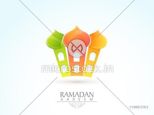 Shiny colourful Mosque design on sky blue and white background for Islamic holy month of prayers, Ramadan Kareem celebration.