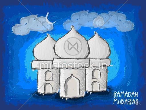 Creative Mosque design on blue painted background for Islamic holy month of prayers, Ramadan Mubarak celebration.