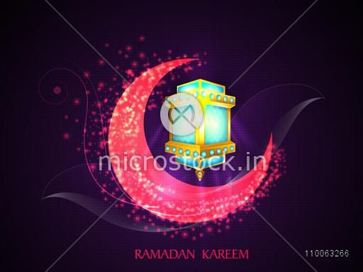 Beautiful glowing pink moon with illuminated creative lantern on stylish purple background for Islamic holy month of prayers, Ramadan Kareem celebration.