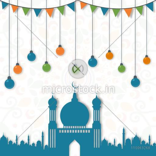 Beautiful blue Mosque with colourful hanging lights and bunting decoration on artistic floral pattern background for Islamic holy month of prayers, Ramadan Kareem celebration.