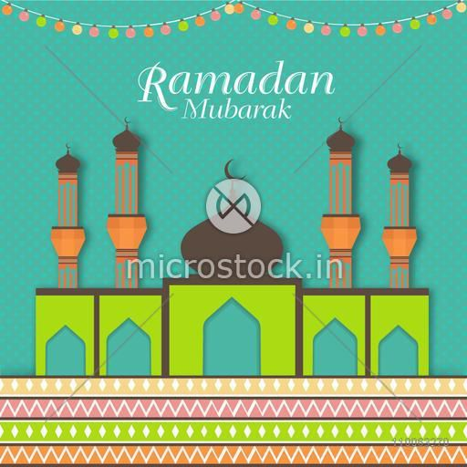Beautiful paper Mosque on colourful lights decorated background for Islamic holy month of prayers, Ramadan Mubarak celebration.