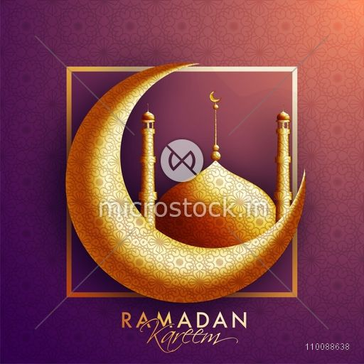 Creative Golden Crescent Moon and Mosque with traditional floral design decoration for Islamic Holy Month of Prayers, Ramadan Kareem celebration.