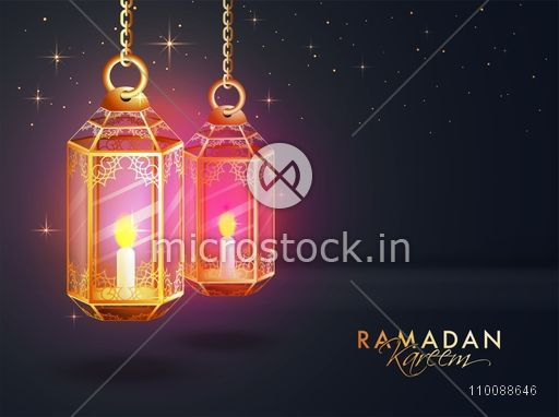 Traditional hanging Lamps with floral design decoration for Holy Month of Muslim Community, Ramadan Kareem celebration.