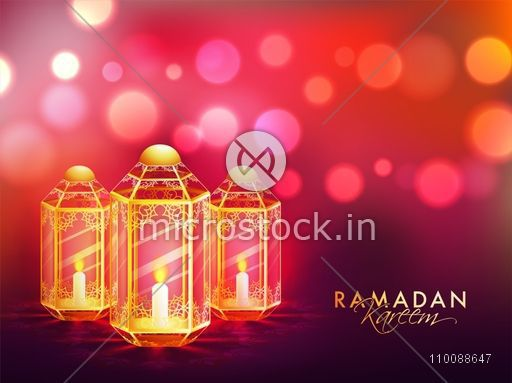 Creative Illuminated Lamps on glowing abstract background for Islamic Holy Month of Prayers, Ramadan Kareem celebration.